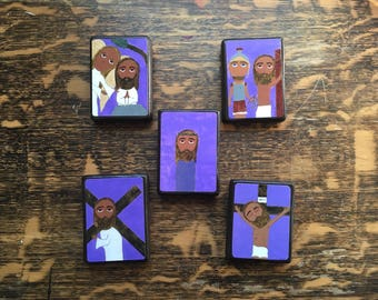 "Full set of 5 Sorrowful Mysteries of the Rosary in Byzantine/ Folk Style on 2.5"" X3.5"" wood by DL Sayles"