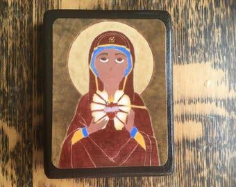 2.5 X 3.5 ish Folk/Byzantine style Icon Print on Wood Mary Immaculate Heart