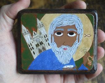 About 2.5ish X 3.5ish inch Saint Peter Folk Byzantine Icon print on wood