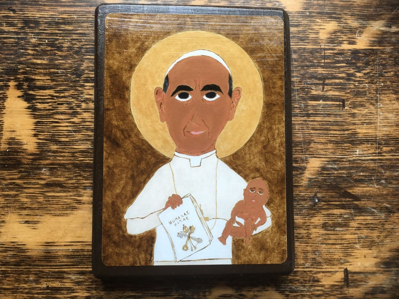 4 X 6 ish inch Blessed Pope Paul VI Folk Byzantine Style Icon image 0