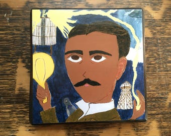 Nikola Tesla 4 X 4 inch Icon Print on Wood