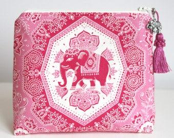 Pink Elephant Makeup Cosmetic Bag Zipper Pouch