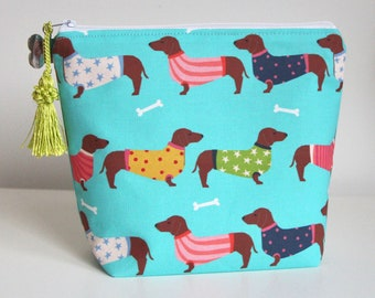 Travel BagMakeup Bag Large dachshund accessory Bag 12.5 x 7 Two Color Choices Dachshund Pouch