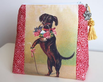 Dachsund Makeup Bag Jewelry Pouch Gift Card Bag