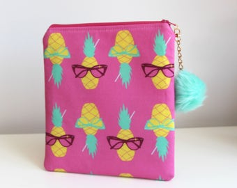 Pineapples EReader Pouch Zippered Mini Tablet Pouch