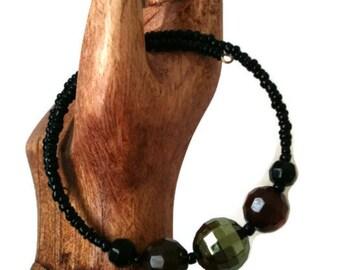 Eco Friendly Bracelet Minimalist Black, Brown & Green