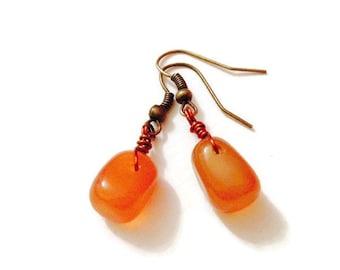 Eco Friendly Gemstone Earrings - Orange Carnelian - Love - Valentines Day