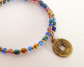 Ethical Chinese Coin Bracelet in Gold and Iridescent Blue - Twilight Collection -  NEW Autumn 2016
