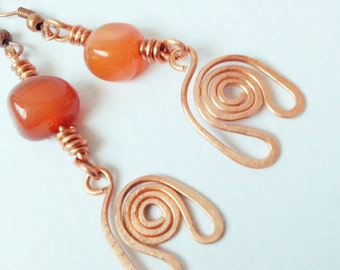 Eco Friendly Gemstone Earrings With Cold Forged Copper Charms - Orange Carnelian - Love - Valentines Day