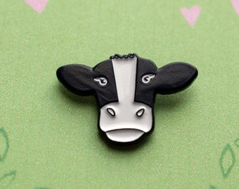 Cow Pin Badge - Friends Not Food / Soft Enamel / Vegan / Vegetarian / Animal Lover