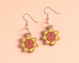 Happy Sunflower Earrings - Wooden with Sterling Silver