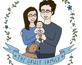 Personalised Couple and Baby Illustration - New Baby, New Family, Wedding, Anniversary, Birthday Present, Custom Gift