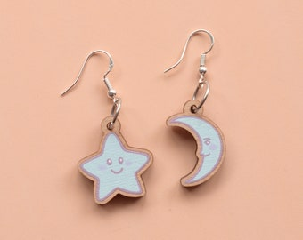 Moon and Star Earrings - Wooden with Sterling Silver