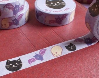 Halloween Washi Tape - Spooky Washi, Black Cat and Skull Tape