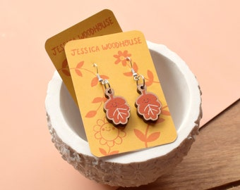 Autumn Leaves Earrings - Wooden with Sterling Silver