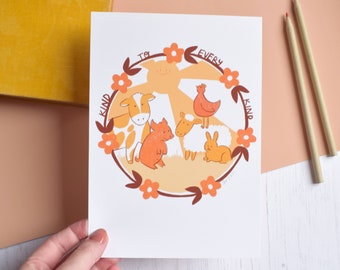 Kind to Every Kind Vegan 70s Art Print