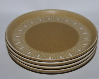 Denby Ode small side tea plates, set of four, ochre mustard burnished gold, retro tableware 1960s stoneware