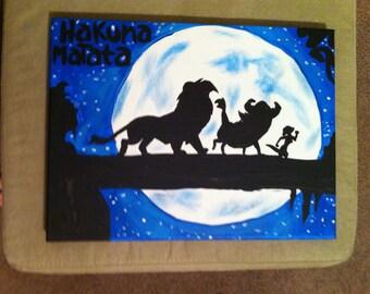 Disneys The Lion King Inspired 9x12 Canvas Painting Hakuna Matata Simba Timon And Pumbaa