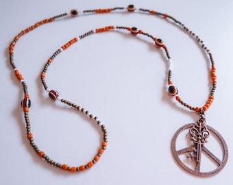 Long Boho Necklace - Peace Symbol and Key - Orange Bronze White - Hippie Chic