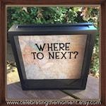 "WHERE TO NEXT? Travel adventures, Ticket Stubs, 12x12"" Shadow Box, Memory Box, Traveler Gift, Wedding gift, Anniversary gift, Souvenir box"
