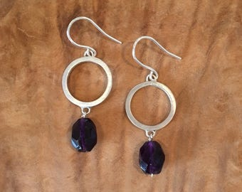 Amethyst and silver circle dangle earrings
