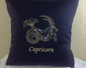 Capricorn Zodiac Sign - The Goat, 16 x 16 Pillow Cover, December 22 - January 19, Embroidered, Metallic Thread