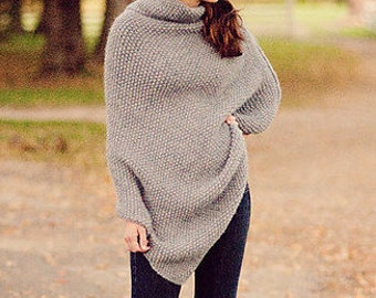 Asymmetrical Seed Stitch Poncho PDF KNITTING PATTERN