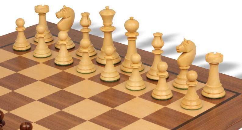 English Upright Antique Reproduction Chess Set Ebonized /& Boxwood with Classic Walnut Chess Board