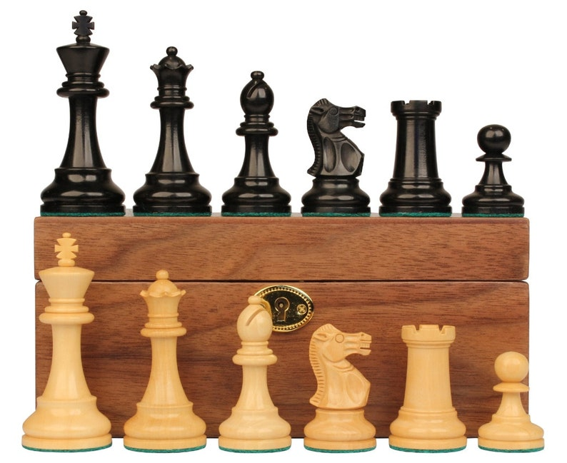 4 King British Staunton Chess Set Ebony /& Boxwood Pieces with Walnut Chess Box