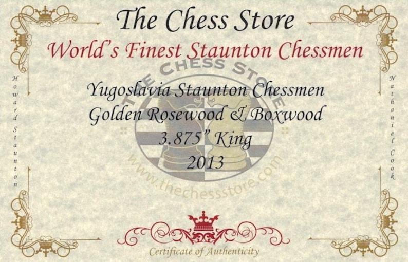 3.875 King Yugoslavia Staunton Chess Set Golden Rosewood /& Boxwood Pieces with Walnut Chess Box
