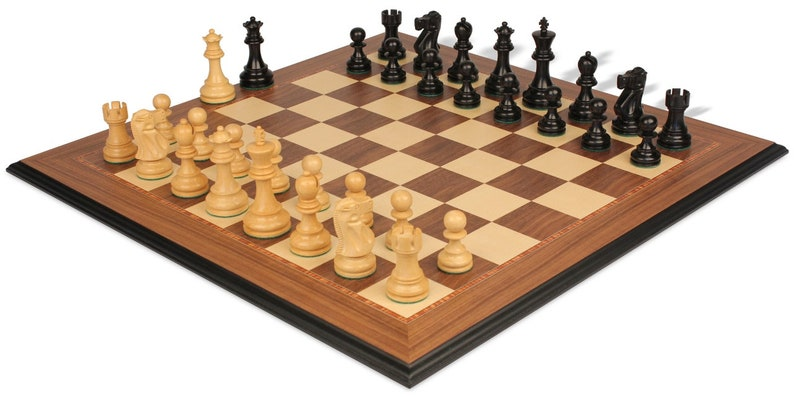 Deluxe Old Club Staunton Chess Set Ebonized /& Boxwood Pieces with Walnut Molded Edge Chess Board 3.75 King
