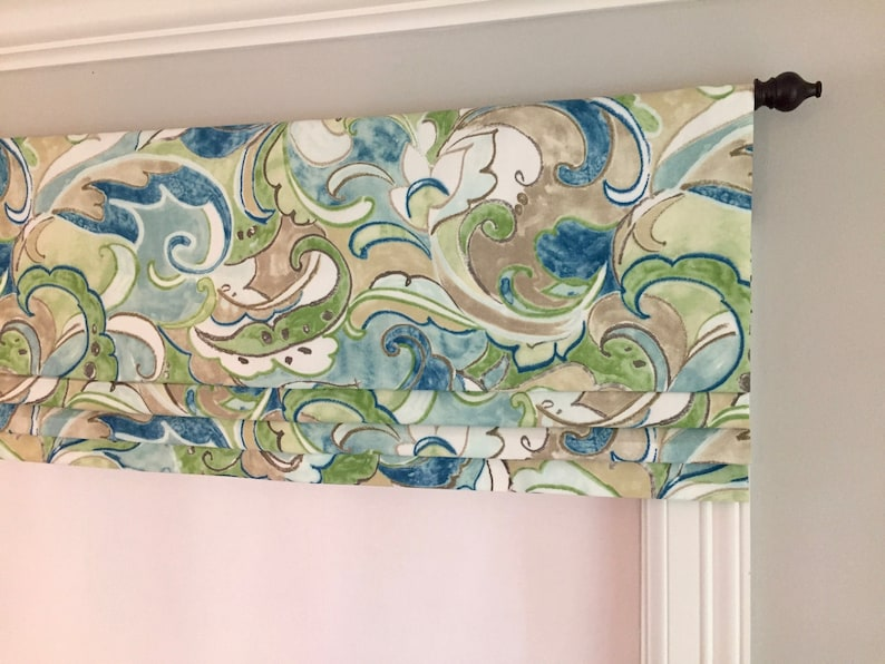 fake SwavelleMill Creek IndoorOutdoor Leena Dew Other colors available. Flat Roman Shade Valance Faux