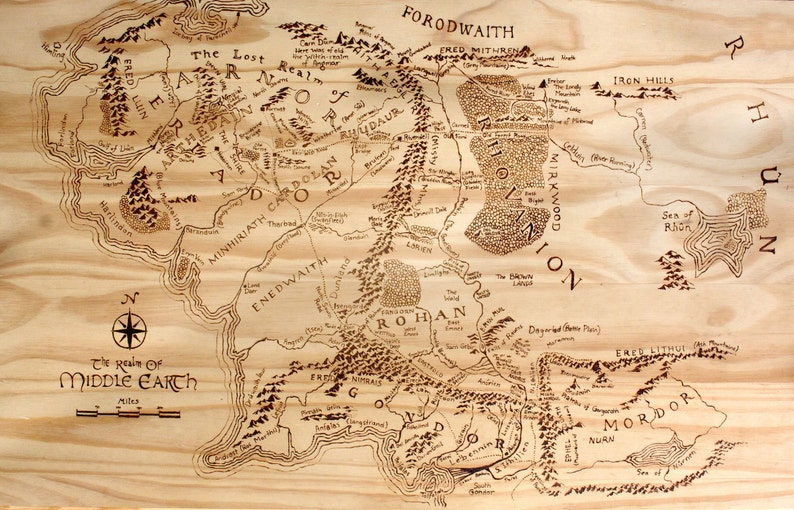 Print of Hand-Burned Map of Middle Earth Wood Burn