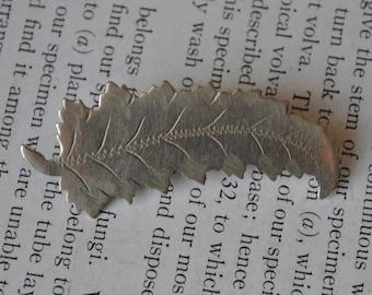 Antique Fern Leaf Brooch - 1900s Edwardian Fern Leaf Pin, Free Shipping