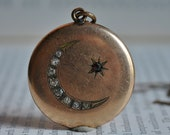 Antique Locket, Gold Filled - 1910s Edwardian Crescent Moon Locket, Celestial Jewelry, Free Shipping