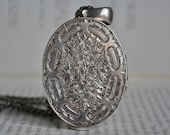 Antique Sterling Locket, Enormous Locket - 1880s Victorian Locket, Heavily Engraved, Free Shipping