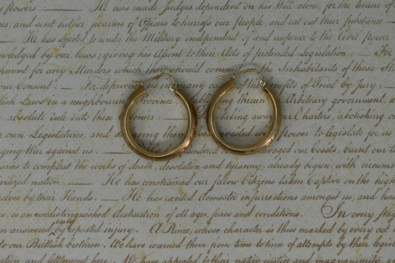 Vintage 10k Yellow Gold Hoop Earrings, Statement … - image 3