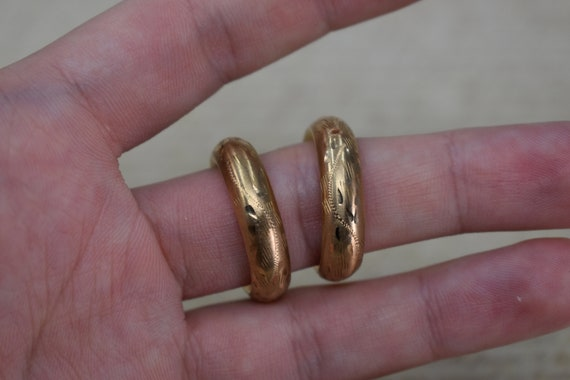 Vintage 10k Yellow Gold Hoop Earrings, Statement … - image 7