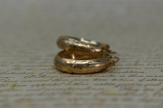 Vintage 10k Yellow Gold Hoop Earrings, Statement … - image 4