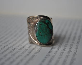 Vintage Sterling Turquoise Ring - 1970s Silver Cuff Ring, Free Shipping