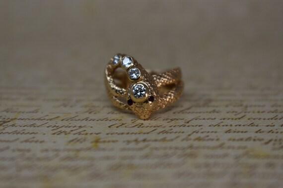 Vintage 14k Snake Ring, Diamonds & Rubies - 1970s