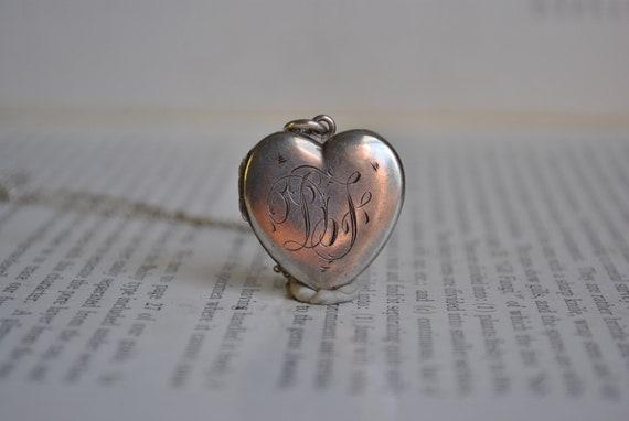 Antique Locket, Sterling Heart Locket - 1920s Edwa