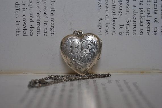 Vintage Sterling Heart Locket, WRJ Sterling - 1970