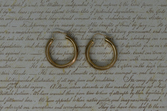 Vintage 10k Yellow Gold Hoop Earrings, Statement … - image 2