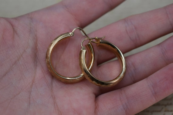 Vintage 10k Yellow Gold Hoop Earrings, Statement … - image 8