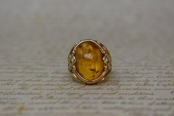 Vintage 10k Amber Ring - 1970s Vintage Amber & Gol