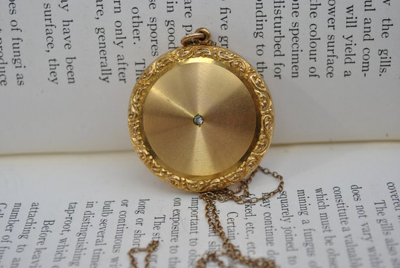 Antique Locket, Large Gold Filled Stone Locket - 1