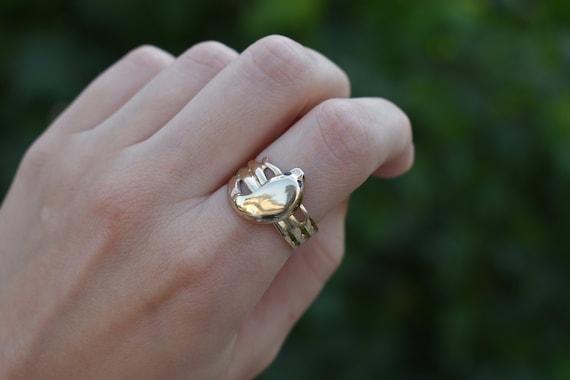Antique 14k Snake Ring, Sapphire Eyes - 1900s Vict