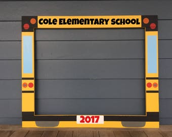 Yellow Bus Photobooth - Photo Booth Frame Prop - First Day of School - School Bus Photo Booth - Back to School Frame Prop - Wood Photobooth