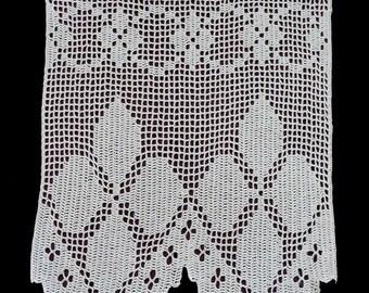 witte katoenen haak venster gordijn bloemmotief bloem silhouet handgemaakte gehaakte filet valance ontsnappingspaneel lace gordijn handgemaakte